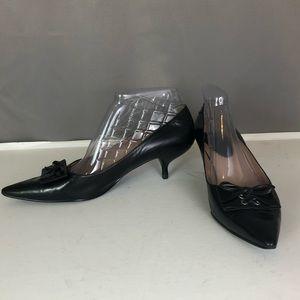 Enzo Angiolini black bow tie pumps